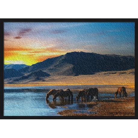 Topný obraz - Koně u jezera