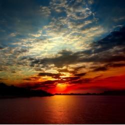 infrapanel - Západ slunce nad mořem